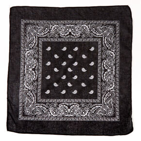 Claire's Club Paisley Bandana Headwrap - Black,