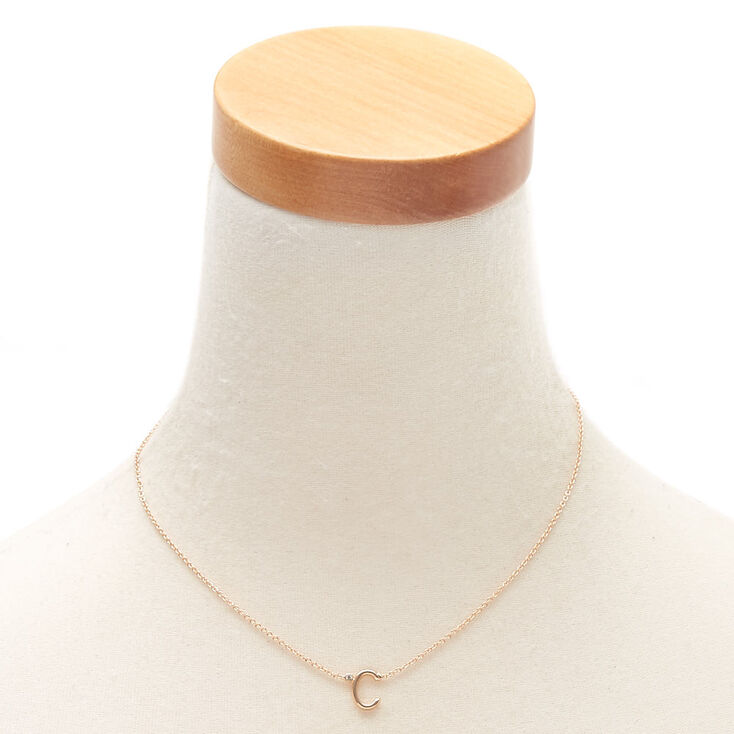 Gold Stone Initial Pendant Necklace - C,