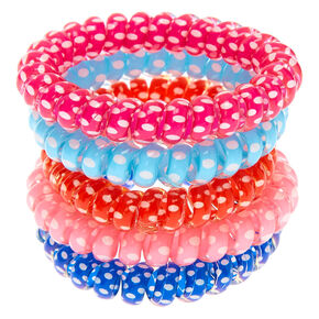 Claire's Club Polka Dot Coil Bracelet Set - 5 Pack,