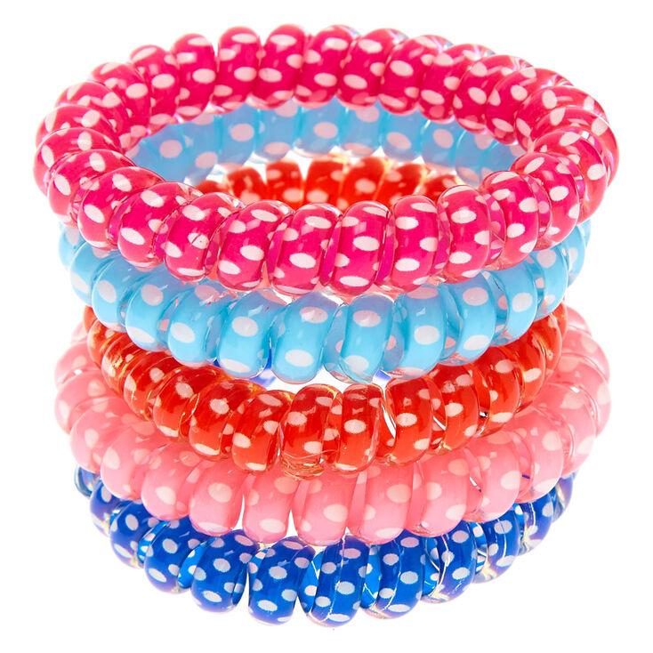 Claire's Club Polka Dot Coil Bracelet Set - 5 Pack,