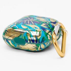 Navy Palm Print Silicone Earbud Case Cover - Compatible With Apple AirPods,