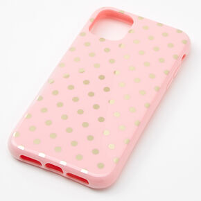 Pink & Gold Polka Dot Phone Case - Fits iPhone 11,