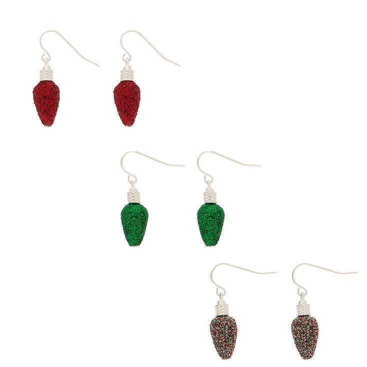 Red Glitter Christmas Light Earrings