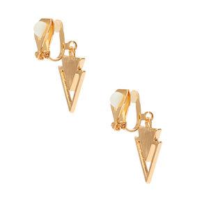 Pendants d'oreilles couleur dorés et noirs de géométrie triangulaire,