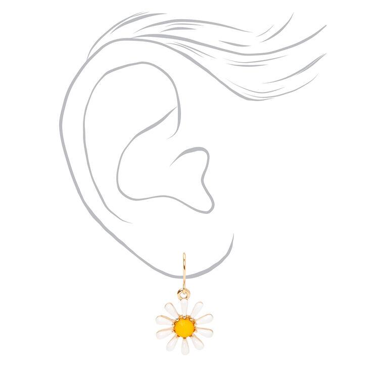 """Gold 1"""" Daisy Drop Earrings - White,"""
