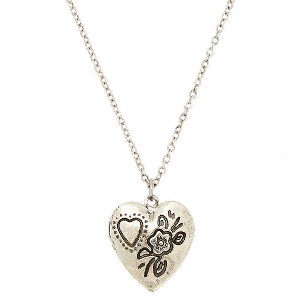Claire's - engraved heart locket pendant necklace - 1