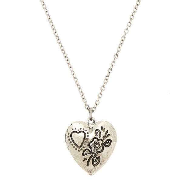 Claire's - engraved heart locket pendant necklace - 1