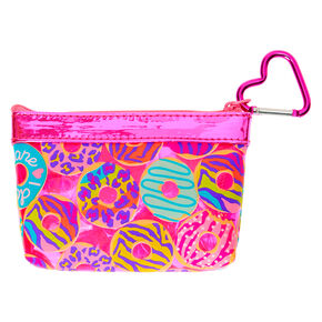 Neon Animal Donut Print Zip Coin Purse - Pink,