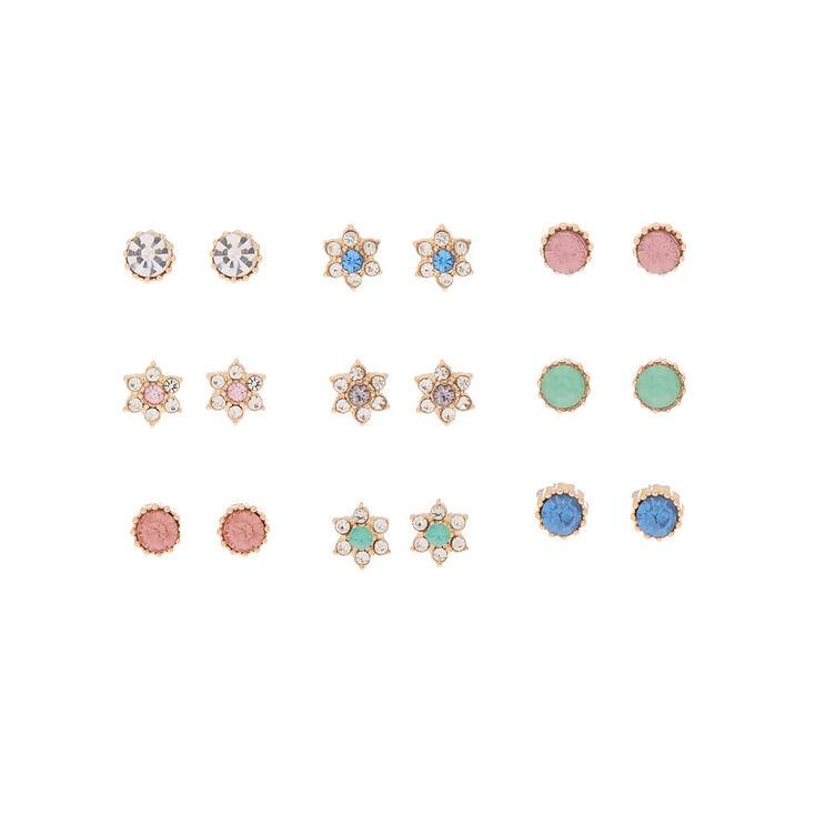 Gold Crystal Flower Stud Earrings - 9 Pack,