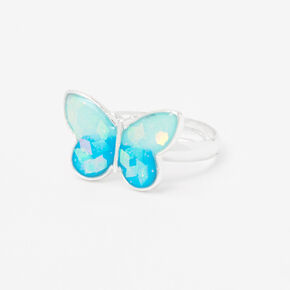 Silver Glow In The Dark Butterfly Ring,
