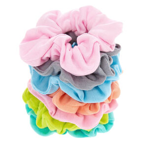 Small Pastel Rainbow Hair Scrunchies - 7 Pack,
