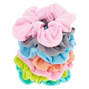 Small Pastel Rainbow Hair Scrunchies - 7 Pack,