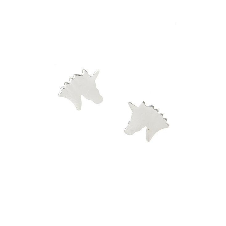 73c000a83 Sterling Silver Unicorn Head Earrings   Claire's