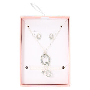Silver Iridescent Glitter Initial Letter Q Jewellery Set,