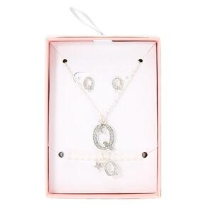 Silver Iridescent Glitter Initial Letter Q Jewellery Set,
