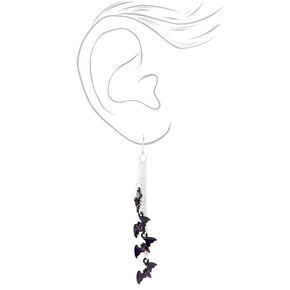 "Silver 2.5"" Multi Bat Drop Earrings,"