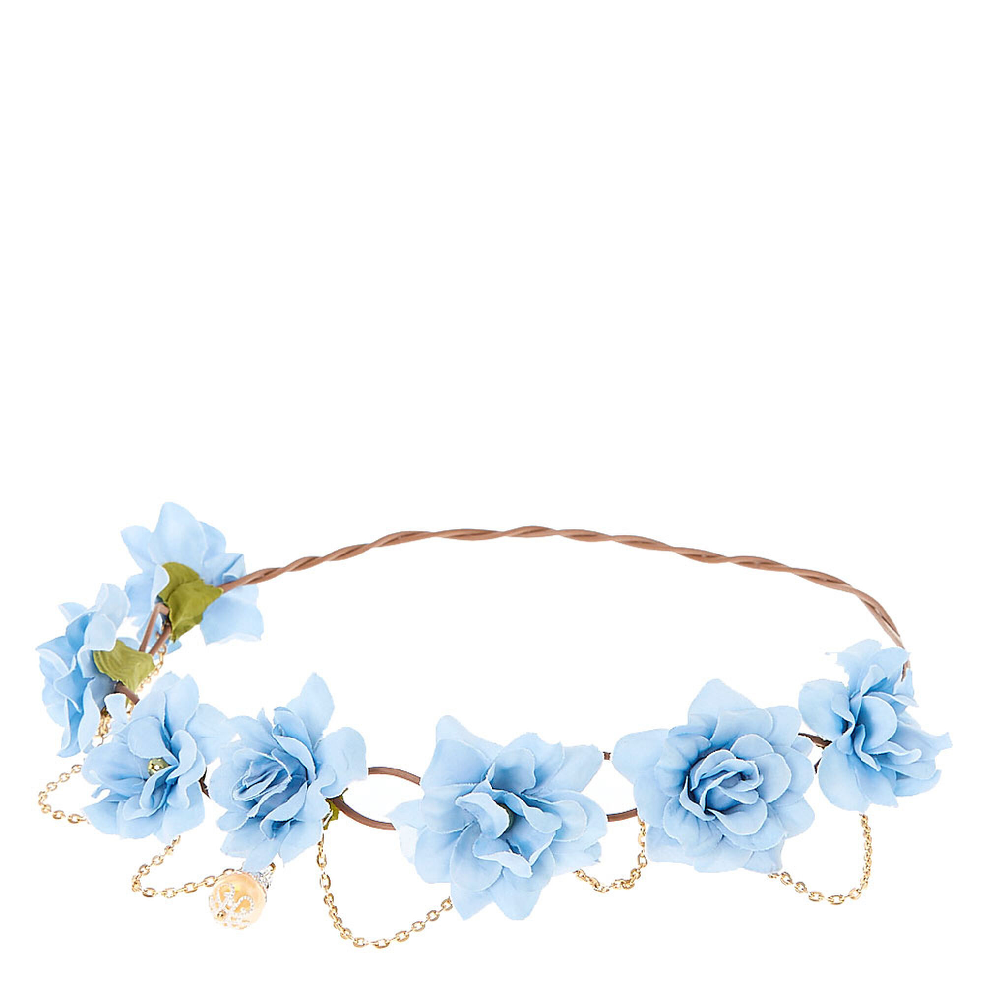 Gold chain flower crown headwrap baby blue claires us gold chain flower crown headwrap baby blue izmirmasajfo