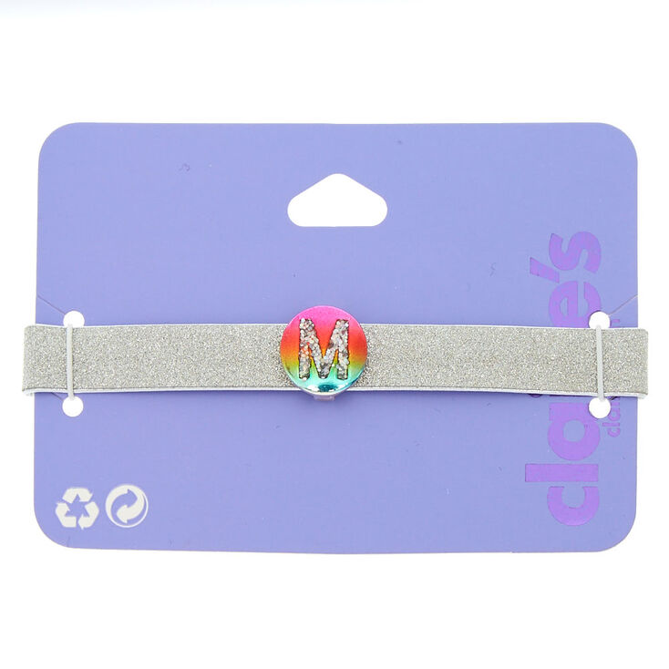 Glitter Rainbow Initial Charm Bracelet - M,