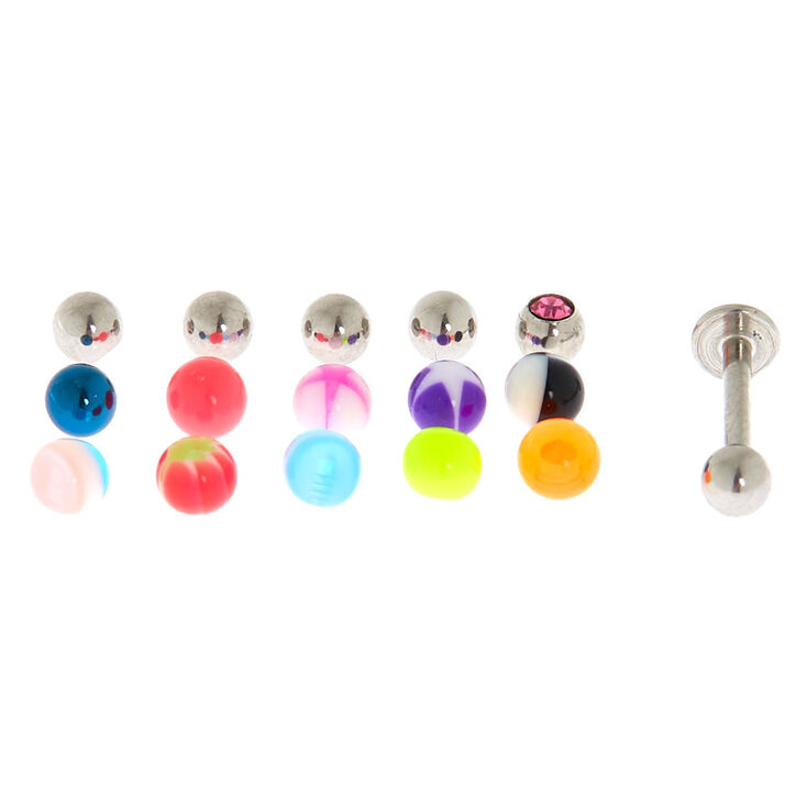 Silver 16G Labret Stud Replacement Balls - 16 Pack,