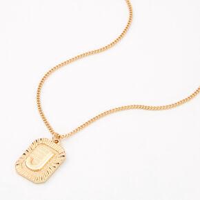 Gold Initial Rectangle Medallion Pendant Necklace - J,