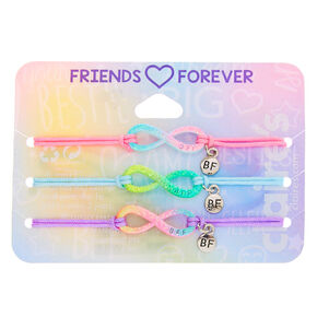 Glitter Pastel Infinity Adjustable Friendship Bracelets- 3 Pack,