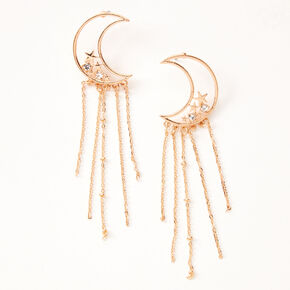 "Gold 3.5"" Celestial Chain Drop Earrings,"