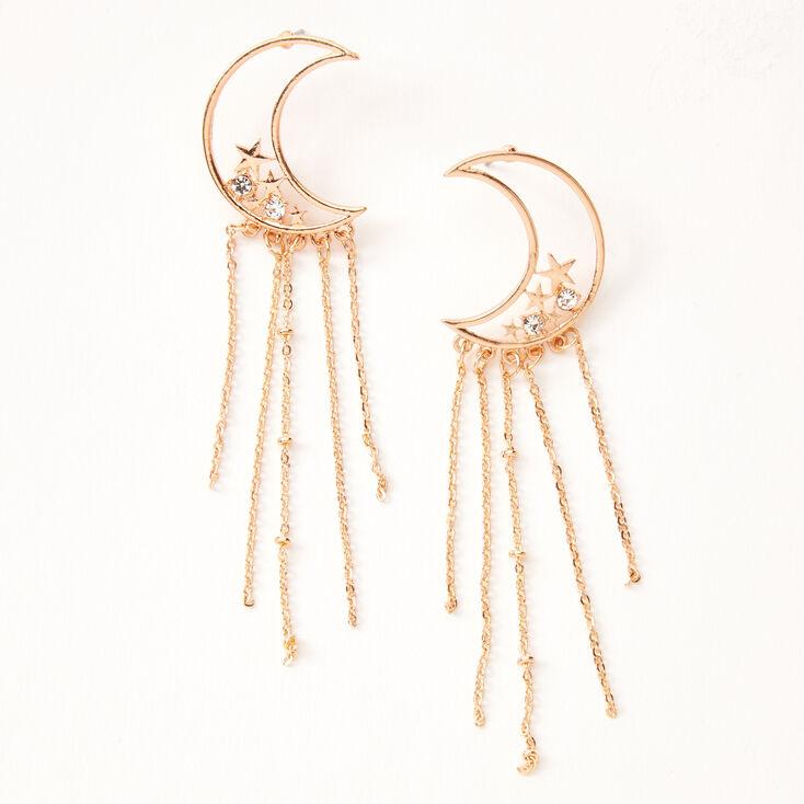 """Gold 3.5"""" Celestial Chain Drop Earrings,"""