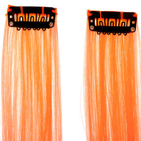 Faux Hair Clip In Extensions - Neon Orange, 2 Pack,