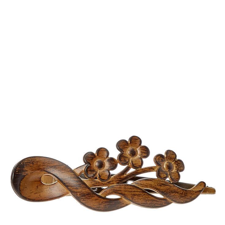 Barrette bois d'imitation avec fleurs,