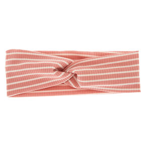 Striped Ribbed Twisted Headwrap - Blush,