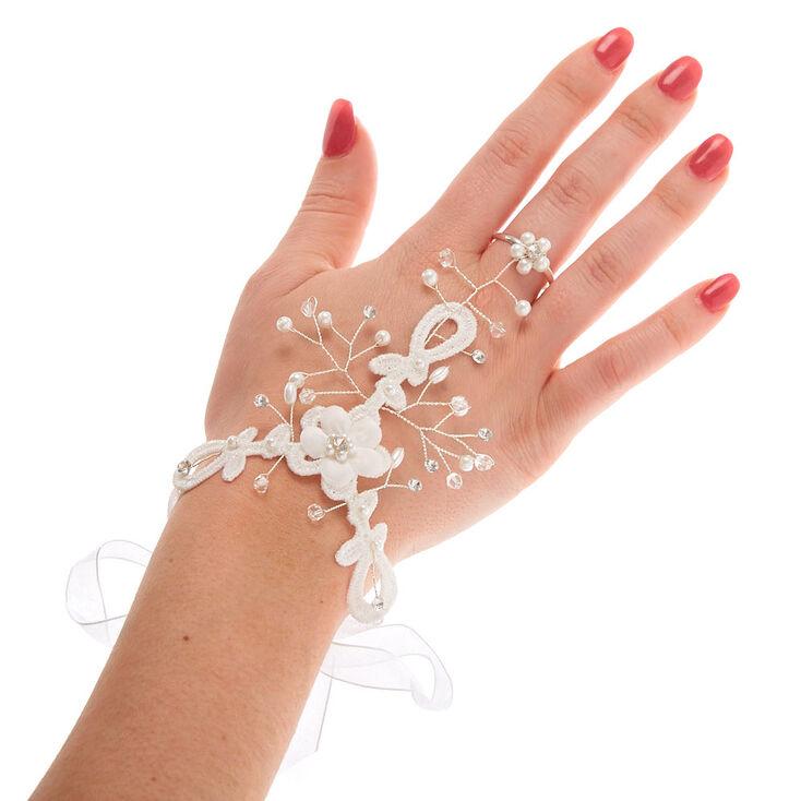 Silver Crochet Flower Hand Chain - White,