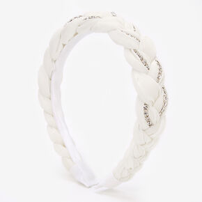 Rhinestone Braided Headband - White,