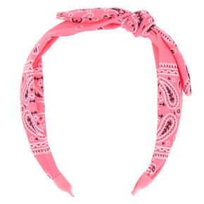 Bandana Twisted Headband - Neon Pink,