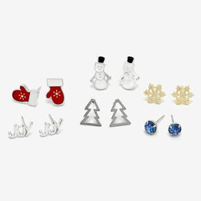 Silver Winter Mix Stud Earrings - 6 Pack,