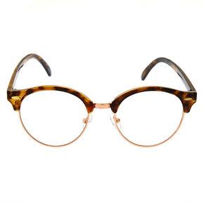 Rose Gold Tortoiseshell Browline Clear Lens Frames,