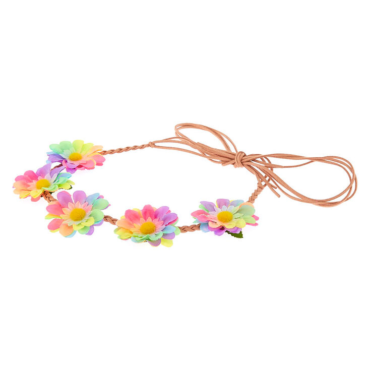 Pastel Rainbow Braided Daisy Flower Crown Headwrap  a454d19a1d0