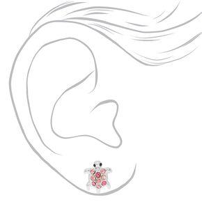 Silver Embellished Turtle Stud Earrings - Pink,