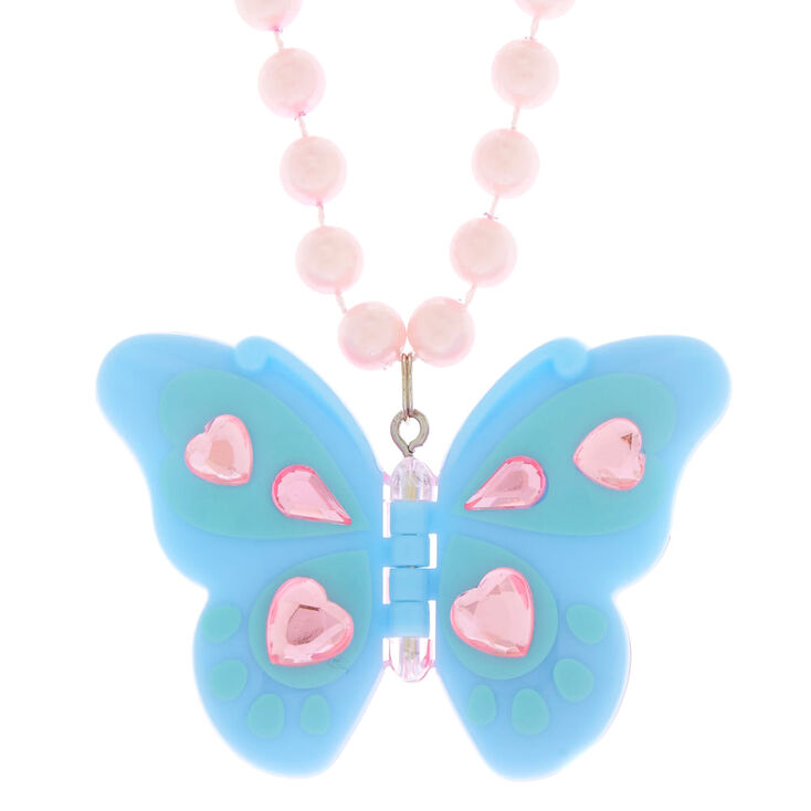 Claire's Club Butterfly Lip Gloss Necklace,