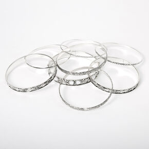 Silver Clear Stone Filigree Bangle Bracelets - 8 Pack,