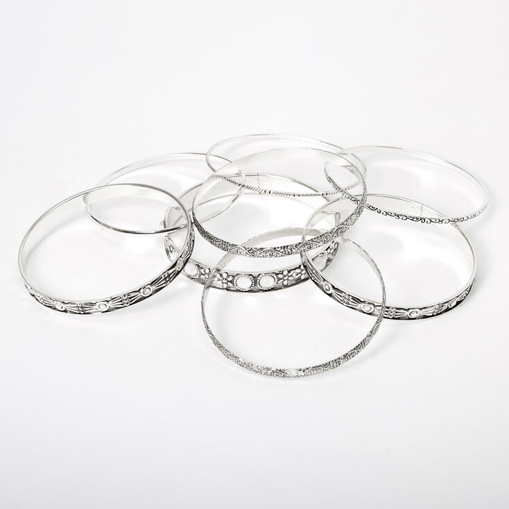Silver Clear Stone Filigree Bangle Bracelets - 8 Pack,