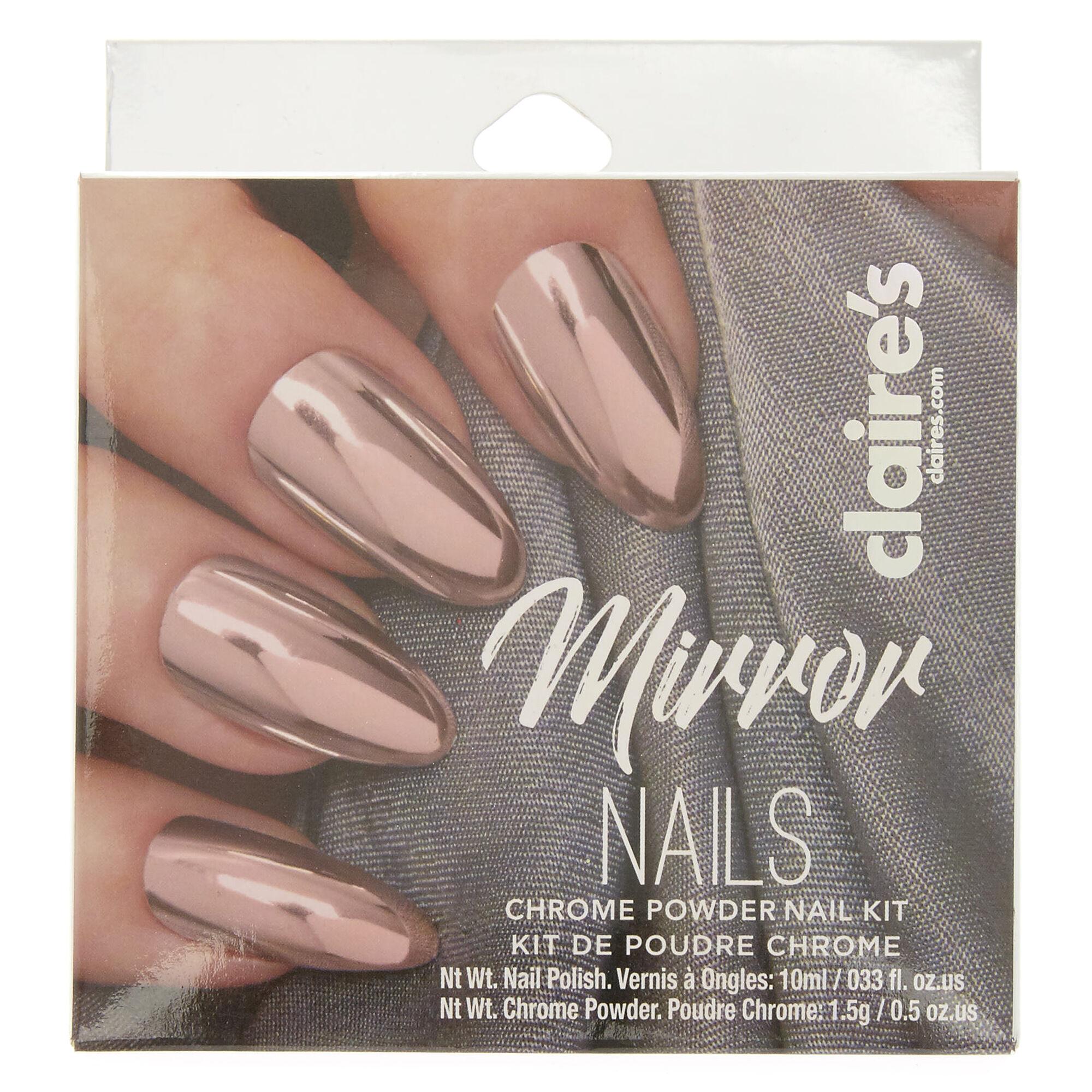 Pink Chrome Powder Nails Set