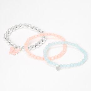 Pastel Butterfly Charm Beaded Stretch Bracelets - 3 Pack,