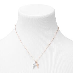 Mixed Metal Double Cross Pendant Necklace,
