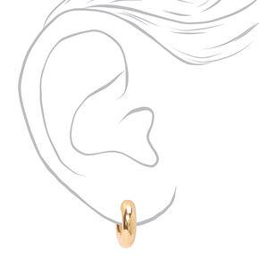 Gold 10MM Tube Open Hoop Earrings,