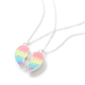 Best Friends Rainbow Striped Heart Pendant Necklaces - 2 Pack,