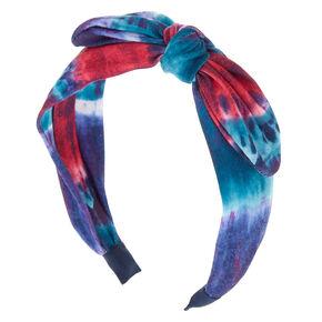 Dark Tie Dye Knotted Bow Headband - Navy,