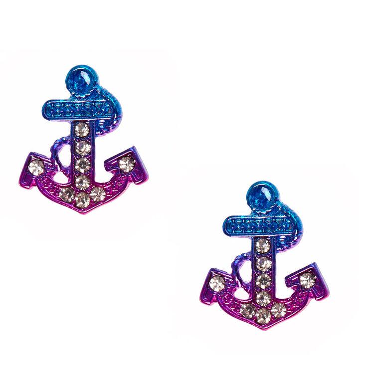 Clous d'oreilles avec ancre métallique violet et rose dégradée,