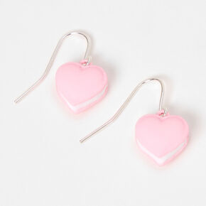 "Silver 0.5"" Macaron Heart Drop Earrings - Pink,"