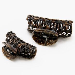 Pinces à cheveux en filigrane au fini nappe de pétrole - Marron, lot de 2,
