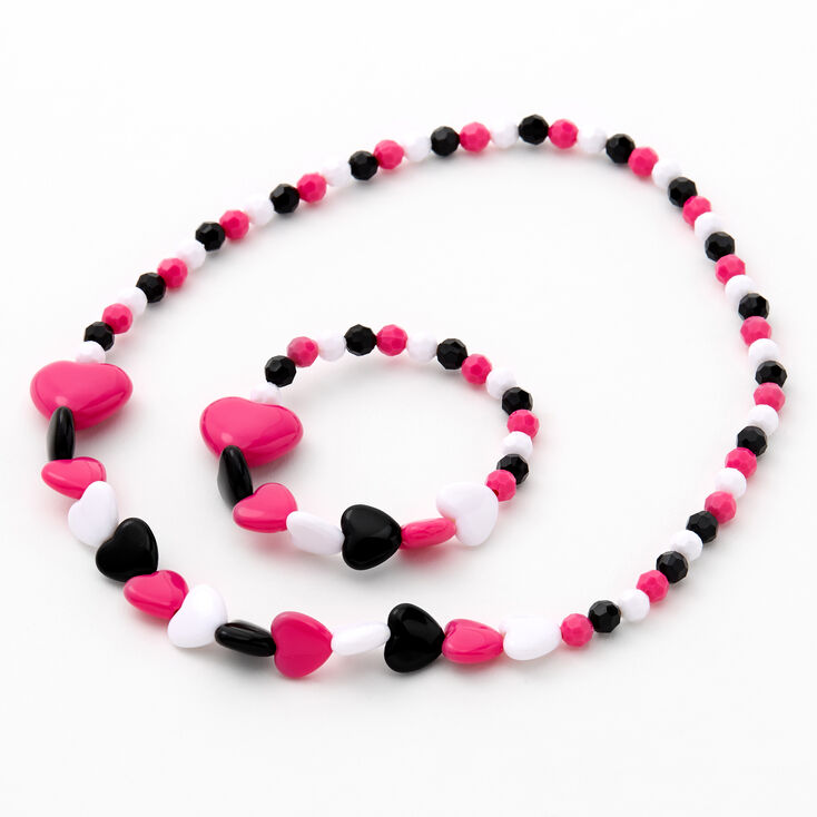 Claire's Club Beaded Hearts Jewelry Set - 2 Pack,